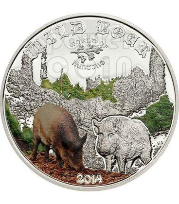 CINGHIALE Wild Boar World Of Hunting Moneta Argento 2$ Cook Islands 2014