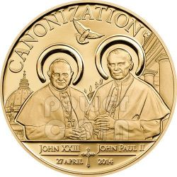 CANONIZATION OF THE POPES Gilded Gold Plated Münze 100 Shillings Tanzania 2014