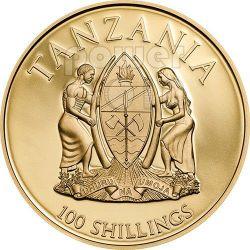 CANONIZATION OF THE POPES Gilded Oro Plated Moneda 100 Shillings Tanzania 2014