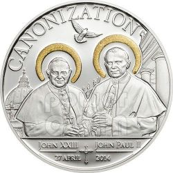 CANONIZATION OF THE POPES Handmade Gilded Silber Münze 1000 Shillings Tanzania 2014