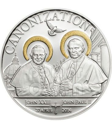 CANONIZATION OF THE POPES Handmade Gilded Silver Coin 1000 Shillings Tanzania 2014