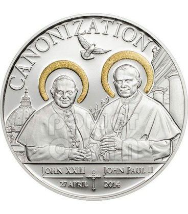 CANONIZZAZIONE DEI PAPI Dorata Moneta Argento 1000 Shillings Tanzania 2014