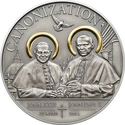 CANONIZATION OF THE POPES Gilded Antique Finish Silver Coin 1000 Shillings Tanzania 2014