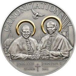 CANONIZZAZIONE DEI PAPI Dorata Anticata Moneta Argento 1000 Shillings Tanzania 2014