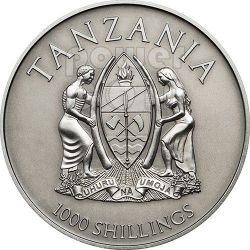 CANONIZATION OF THE POPES Gilded Antique Finish Moneda Plata 1000 Shillings Tanzania 2014