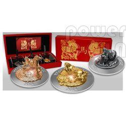 HORSE THREE DIMENSIONAL 3D Lunar Year Серебро Монета Set 500 Франков Руанда 2014
