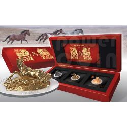 HORSE THREE DIMENSIONAL 3D Lunar Year Silver Coin Set 500 Francs Rwanda 2014