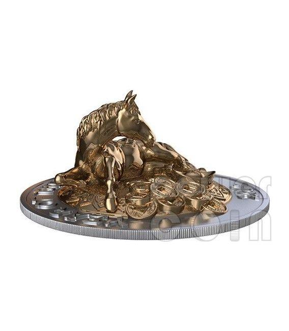 CAVALLO TRIDIMENSIONALE 3D Horse Lunar Year Set Monete Argento 500 Franchi Ruanda 2014