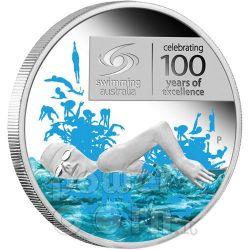 SWIMMING EXCELLENCE 100 YEARS Серебро Монета 1$ Австралия 2009