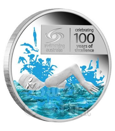 NUOTO 100 ANNI ECCELLENZA Moneta Argento 1$ Australia 2009