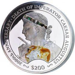 CESARE AUGUSTO Blacas Cameo Pietre Preziose Moneta Argento 200$ 2 Kg Isole Vergini Britanniche 2014