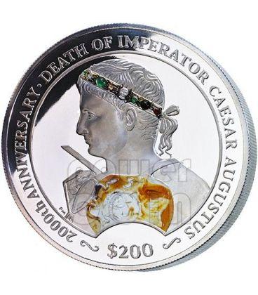 CESARE AUGUSTO Blacas Cameo Pietre Preziose Moneta Argento 200$ 2 Kg British Virgin Islands 2014
