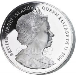 CESARE AUGUSTO Blacas Cameo Pietre Preziose Moneta Argento 200$ 2 Kg British Virgin Islands 2014