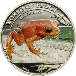 ROSPO DORATO Bufo Periglenes World Of Frogs Moneta Argento 2$ Palau 2014