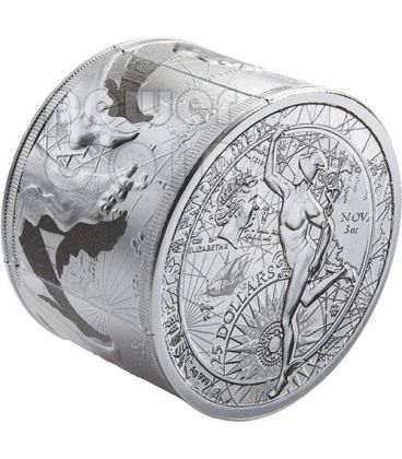 FORTUNA REDUX Prosperity Business Mercury Silver Coin 3 Oz 25$ Niue 2014