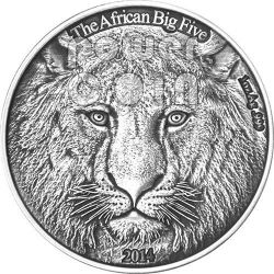 LION African Big Five 1 Oz Silver Coin 1000 Francs Burkina Faso 2014