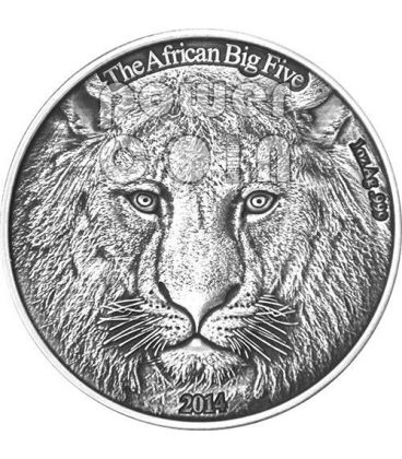 LEONE AFRICANO Lion African Big Five Moneta Argento 1 Oz 1000 Franchi Burkina Faso 2014