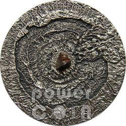 METEORITE CANYON DIABLO Meteor Crater Silver Coin 1$ Niue Island 2014