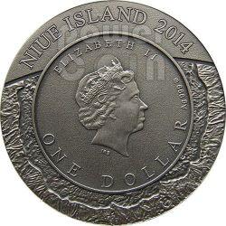 METEORITE CANYON DIABLO Meteor Crater Silver Coin 1$ Niue 2014