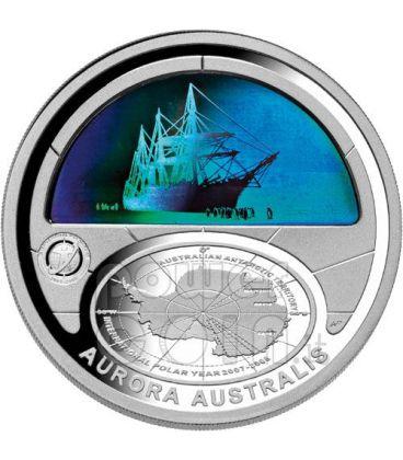 POLAR YEAR Aurora Australis Silver Coin 5$ Australia 2009