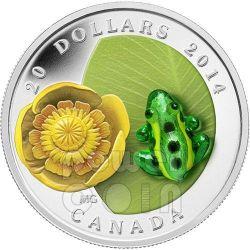 RANA LEOPARDO Leopard Frog Water Lily Vetro Murano Moneta Argento 20$ Canada 2014