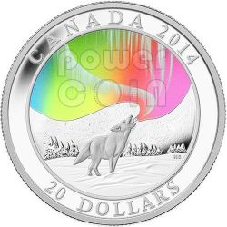 AURORA DEL NORD Lupo Howling Wolf Northern Lights Moneta Argento 20$ Canada 2014