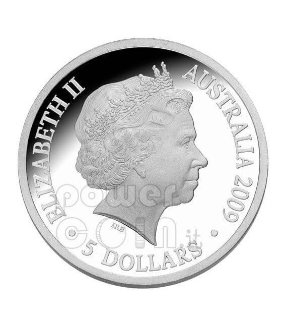 POLAR YEAR Aurora Australis Silber Münze 5$ Australia 2009
