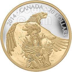 NANABOOZHOO THUNDERBIRD Dorata Moneta Argento 20$ Canada 2014