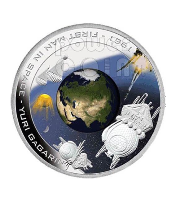 YURI GAGARIN First Man In Space Silver Coin 1$ Cook Islands 2008
