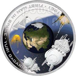 YURI GAGARIN First Man In Space Moneda Plata 1$ Cook Islands 2008
