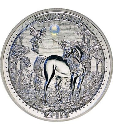 UNICORN Series Opal Gemstone Silver Coin 1000 Francs Cameroon 2013