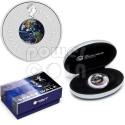 LEONOV First Walk Man In Space Silver Coin 1$ Cook Islands 2009