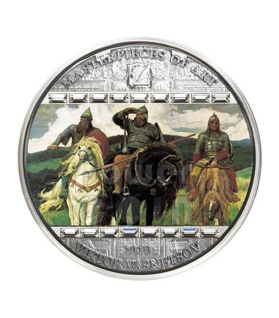 VIKTOR VASNETSOV Three Bogatyrs Masterpieces of Art 3 Oz Silber Münze 20$ Cook Islands 2010