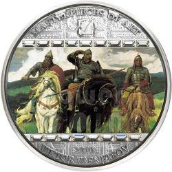 VIKTOR VASNETSOV Three Bogatyrs Masterpieces of Art 3 Oz Silver Coin 20$ Cook Islands 2010