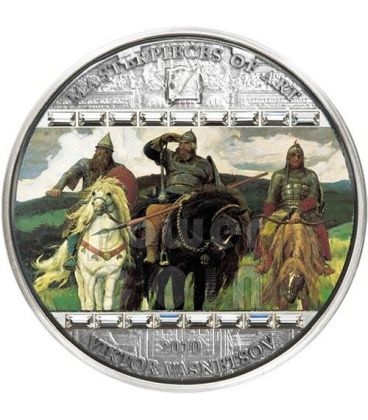 VIKTOR VASNETSOV Three Bogatyrs Masterpieces of Art 3 Oz Moneta Argento 20$ Cook Islands 2010