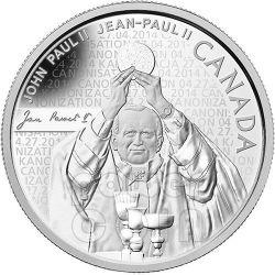 CANONIZZAZIONE DEL PAPA Giovanni Paolo II Moneta Argento 10$ Canada 2014