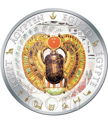 WINGED SCARAB Gilded Egypt Silver Coin 1$ Fiji 2012