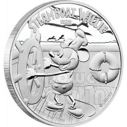 STEAMBOAT WILLIE Topolino Mickey Mouse Disney 1 Oz Moneta Argento 2$ Niue 2014
