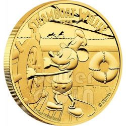 STEAMBOAT WILLIE Topolino Mickey Mouse Disney 1/4 Oz Moneta Oro 25$ Niue 2014