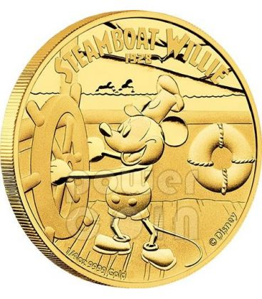 STEAMBOAT WILLIE Mickey Mouse Disney 1/4 Oz Gold Proof Coin 25$ Niue 2014