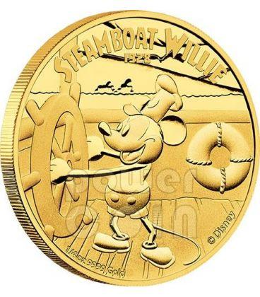 STEAMBOAT WILLIE Topolino Mickey Mouse Disney 1/4 Oz Moneta Oro 25$ Niue 2014