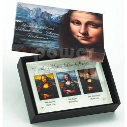 MONNA LISA SORELLE Gioconda Mona Lisa Sisters Set 3 Monete Argento 5$ Niue 2014