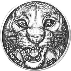 BLACK PANTHER Antique Finish Moneda Plata 1000 Francs Ivory Coast 2013