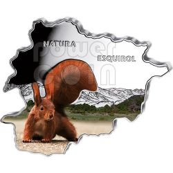 SQUIRREL Nature Treasure of Андора Map Shaped Серебро Монета 10D Андора 2013