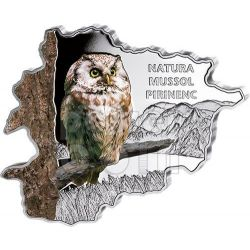 OWL Nature Treasure of Andorra Map Shaped Moneda Plata 10D Andorra 2013