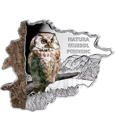 OWL Nature Treasure of Andorra Map Shaped Silver Coin 10D Andorra 2013
