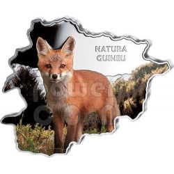 FOX Nature Treasure of Andorra Map Shaped Silber Münze 10D Andorra 2013