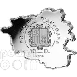 FOX Nature Treasure of Andorra Map Shaped Moneda Plata 10D Andorra 2013