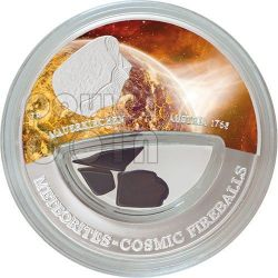 METEORITE MAUERKIRCHEN Cosmic Fireballs Moneta Argento 10$ Fiji 2013