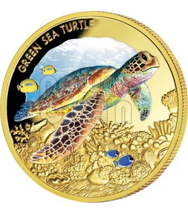 GREEN SEA TURTLE Endangered Extinct 1oz Gold Proof Coin 100$ Niue 2014